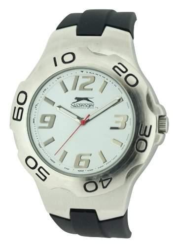 Slazenger MenQuarz-Uhr mit weissem Zifferblatt Analog-Anzeige und Schwarz-Silikon-Buegel SLZ122A