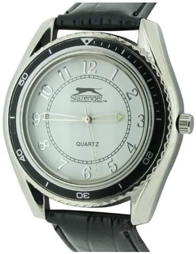 Slazenger MenQuarz-Uhr mit weissem Zifferblatt Analog-Anzeige und Schwarz PU Strap SLZ183A