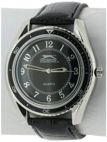 Slazenger MenHerren Quarzuhr mit schwarzem Zifferblatt Analog-Anzeige und Schwarz PU Strap SLZ183B