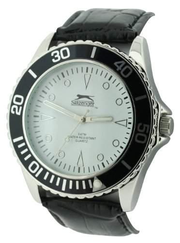 Slazenger MenQuarz-Uhr mit weissem Zifferblatt Analog-Anzeige und Schwarz PU Strap SLZ209A