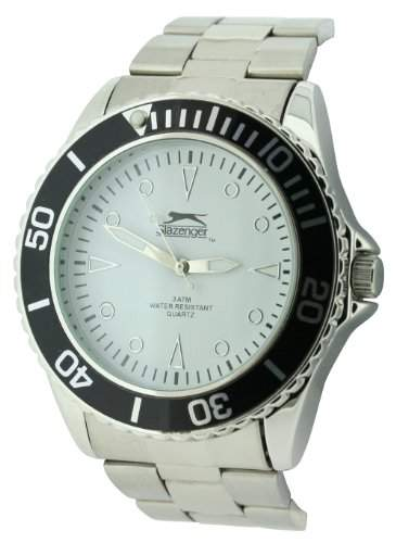 Slazenger MenQuarz-Uhr mit weissem Zifferblatt Analog-Anzeige und Silber-Armband-SLZ210A
