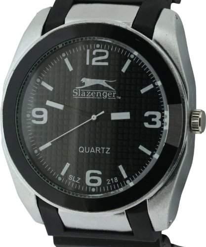 Slazenger MenHerren Quarzuhr mit schwarzem Zifferblatt Analog-Anzeige und Schwarz-Silikon-Buegel SLZ218A
