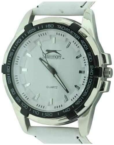Slazenger MenQuarz-Uhr mit weissem Zifferblatt Analog-Anzeige und weisse PU Strap SLZ302C