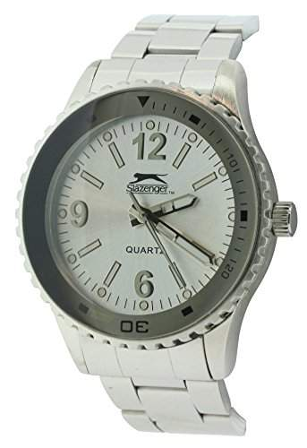 Slazenger SLZ63A Herren Armbanduhr Quarzuhrwerk weiße Analog-Anzeige silbernes Band