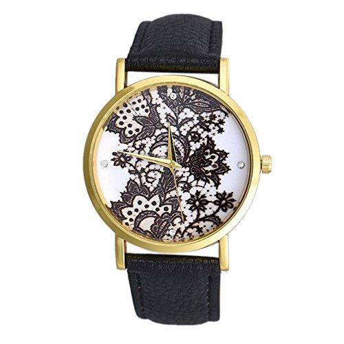 SSITG Damen runde Spitze Printed Leder wrist watch Geschenk gift