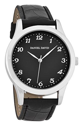 Daniel David Classic silber mit schwarz Croc Band dd15203