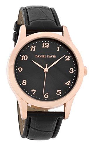 Daniel David Classic Gold mit Schwarz Croc Band dd15201