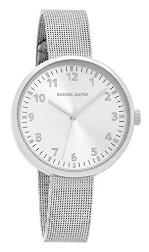 Daniel David Unisex Classic Minimalist Silber Uhr mit Mesh Band dd15102