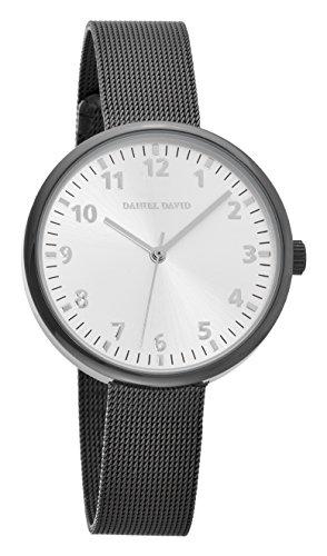 Daniel David Unisex Classic Minimalist Gunmetal Uhr mit Mesh Band dd15104
