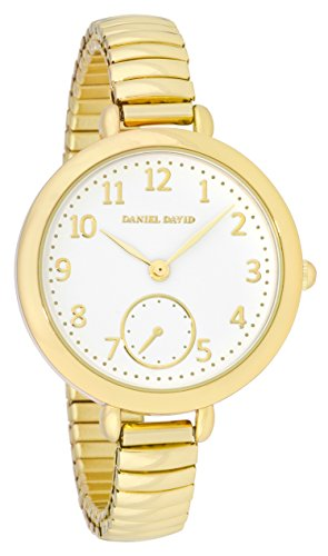 Daniel David Damen Elegante Grosse Gold Watch mit Expansion Band dd15001