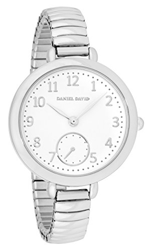 Daniel David Damen Elegante Grosse Silber Uhr mit Expansion Band dd15002