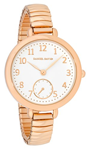 Daniel David Damen Elegante Grosse Rose Gold Watch mit Expansion Band dd15003