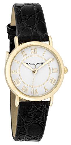 Daniel David Frauen zeigt Klassische Gold mit roemischen Zahlen und Armband schwarz Slim dd15703
