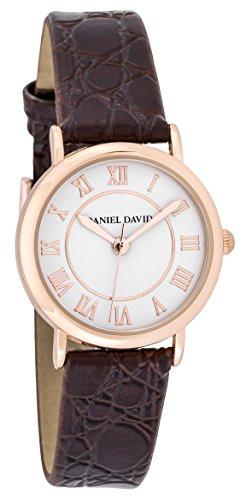 Daniel David Frauen zeigt Klassische Rosa Gold mit roemischen Zahlen und Armband braun Slim dd15701