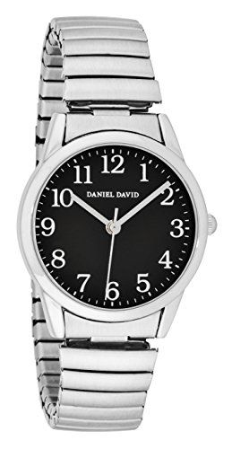 Daniel David Damen Easy Reader schwarz Zifferblatt Silber Expansion Band Armbanduhr dd15302