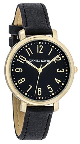Danel David Damen Fashion Minimalist Gold und Schwarz leicht abzulesendes Uhr mit Schwarz PU Lederband dd16104