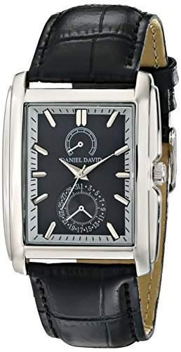 Daniel David Herren, rechteckig, schwarze Zifferblatt &DD12503 strukturiert, Uhr, Leder, Schwarz