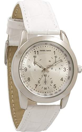 Daniel David WomenClassic silber s Chronograph WatchDD13301, Leder, Weiss