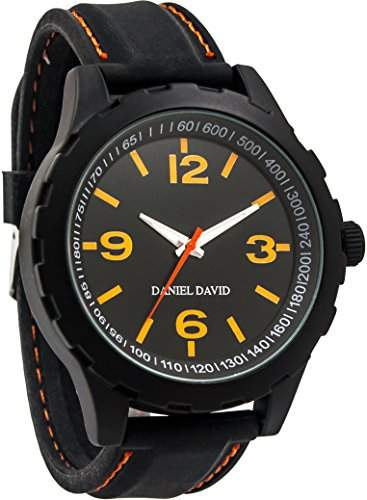 Daniel David Herren Accent Schwarz Band, Orange, DD14101 Sports Style