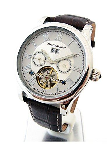 Masterline1966 Armbanduhr Herren Automatik Silver Glasboden Lederband ML06090009