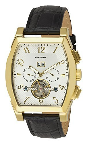 Masterline1966 Herren Automatik Tonneau Lederband golden ML06116006