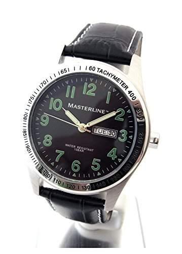 Masterline1966 Herren Armbanduhr Lederarmband DayDate schwarz ML06108005