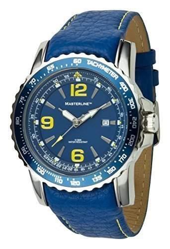 Herrenarmbanduhr Masterline1966 100m Leder blau Tachymeter ML06139001
