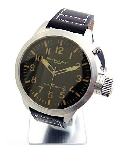 Masterline1966 Herrenarmbanduhr Saphirglas 100m Leder braun ML06140001