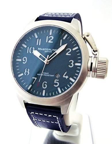 Masterline1966 Herrenarmbanduhr Saphirglas 100m Leder blau ML06140002