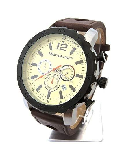 Masterline1966 Chronograph 50mm Beige Leder Tachymeter ML06165001