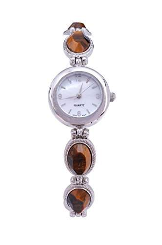Damen Armbanduhr Tigerauge Silber Japanischer Uhrwerk Analog Quartz
