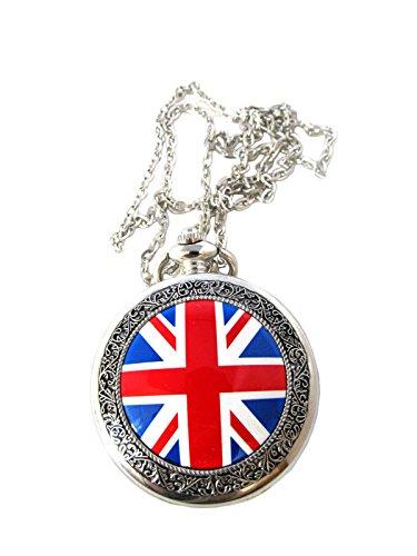 Britische Flagge Design Tasche Collier Antik Finish japanisches Uhrwerk mit einem zusaetzlichen Akku