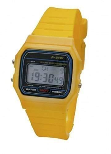 LCD-Armbanduhr Fuer Damen & Herren, Retro-Digitaluhr, Gelb, Kunststoff, Klassischer Vintage-Stil