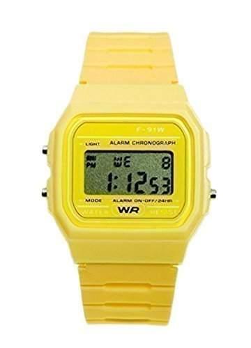 Bullashah - Unisex 70s 80s Retro Gelbe Plastik Digital Uhr Klassischer Stil Plastik LCD Uhr