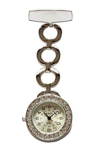 Weiss Diamante Silber Gold Metall UHRENTASCHE Uhr fuer AErzte Krankenschwestern Sanitaeter