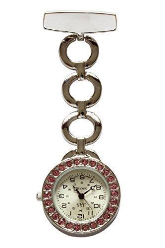 Rosa Diamante Silber Metall UHRENTASCHE Uhr fuer Doktoren Krankenschwestern Rettungsassistenten