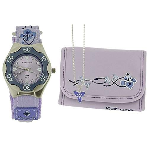 Kahuna Maedchenuhr, violettes Blumenstoffarmb & Portemonnaie, 5 ATM