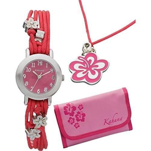 Kahuna Armbanduhr & Passende Geldboerse Maedchen Rosa Blume Klett