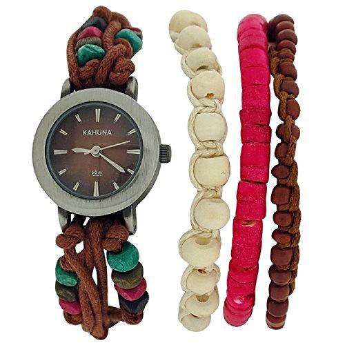 Kahuna Damenarmbanduhr braunes Perlenband Knebelverschluss KLF 00011L