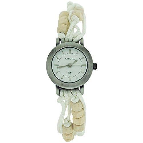 Kahuna Damenarmbanduhr weisses Perlenband Knebelverschluss KLF 0001L