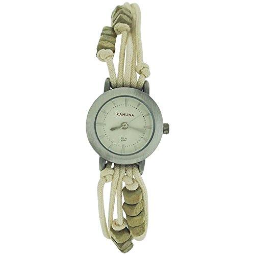 Kahuna Damenarmbanduhr beiges Perlenband Knebelverschluss KLF 0008L