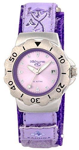 Kahuna Maedchen Damen flieder lila metallic Zifferblatt Flower Muster Klettverschluss Sport Armbanduhr
