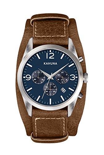 Kahuna Herren blau Zifferblatt braun Handschlaufe mit Chronograph ksc 0013g