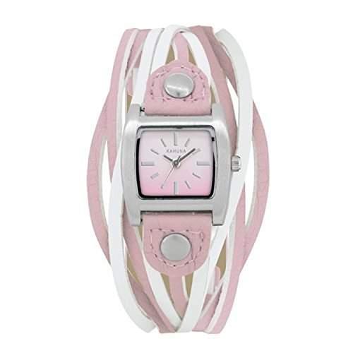 Kahuna Modedamenuhr, rosa und weisse Riemen als Armband, KLS-0267L