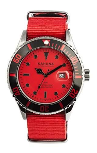 Kahuna Herren Armbanduhr mit Rot Zifferblatt Analog-Anzeige und rotem Stoff Gurt kus-0114g