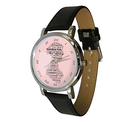 Pink Jane Austen Design Taschenuhr Tolles Geschenk fuer jedes Jane Austen Fan