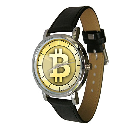 Bitcoin Design Armbanduhr mit einem echtem Leder Strap