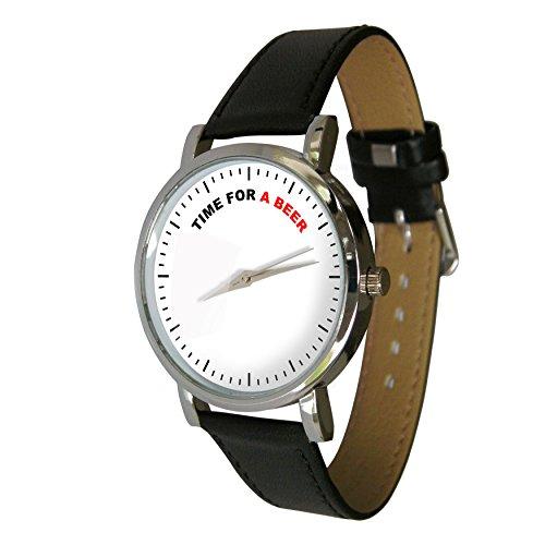 Zeit fuer ein Bier Design Armbanduhr mit einem echtem Leder Strap