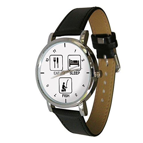 EAT SLEEP Fish Design Armbanduhr Tolles Angeln Geschenk