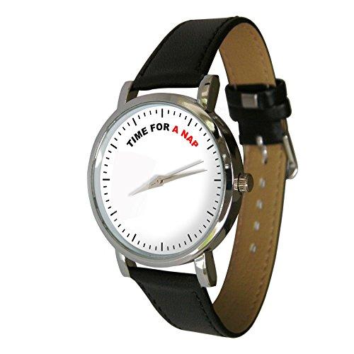 Zeit fuer ein Nickerchen Design Armbanduhr mit einem echtem Leder Strap